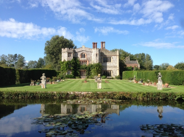 Mannington Estate, pond, statues in gardens, lawns and house with ivy