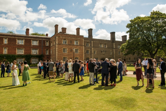Jesus College, back of college people on the lawns