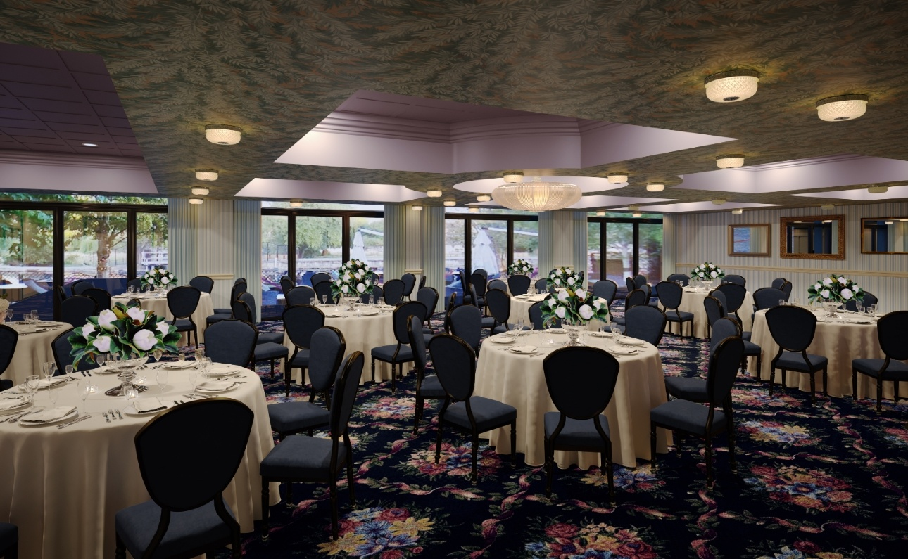 wedding suite with reception tables purple lighting and purple floral carpets