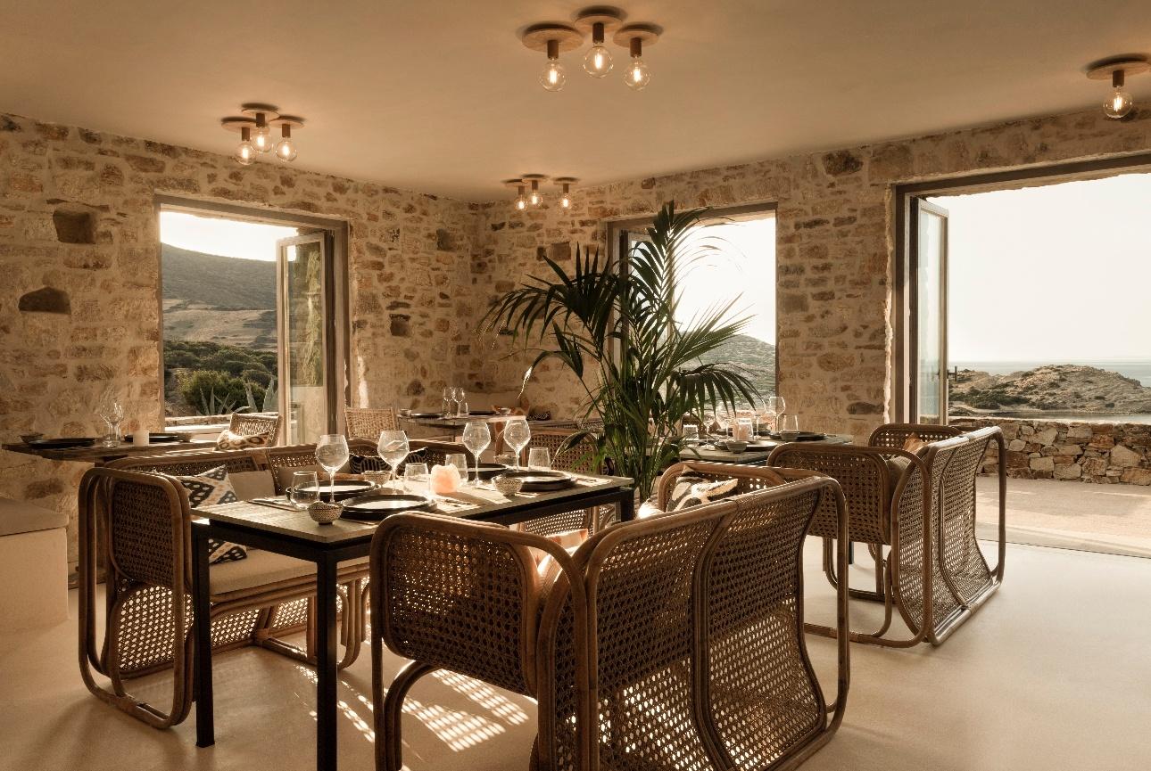 restaurant indoor low lighting wicker furniture