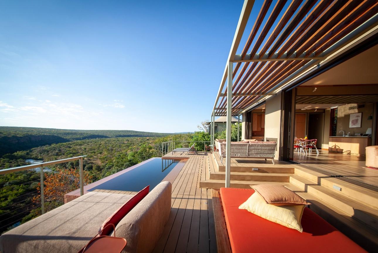 lodge lounge and pool with views
