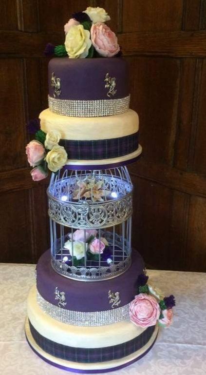 purple and white cake design
